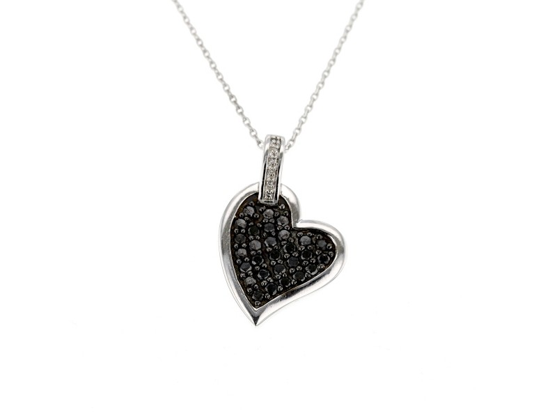Black and white diamonds heart shape pendant in silver 925/1000