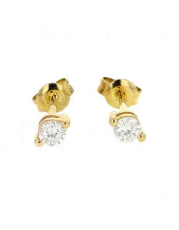 Two claw solitaire stud earrings in 9 K gold