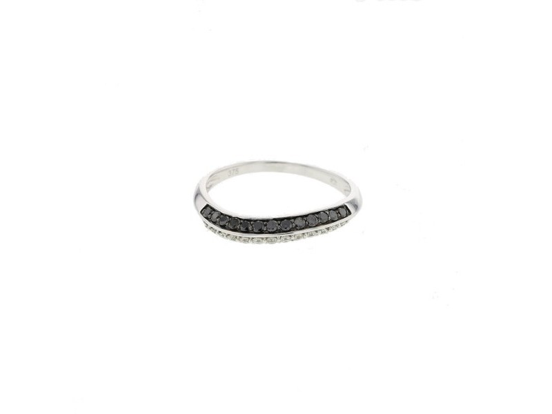 Pave set fantasy shape ring with black and white diamonds in 9 K gold