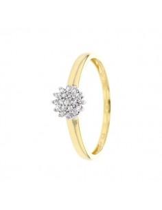 Bague chou diamants en or jaune