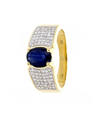 Large ring with sapphire sided with diamonds in 18 K gold