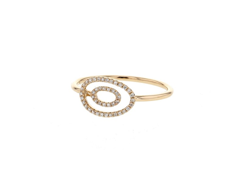 Ovales pave set diamonds rings in 9 K gold