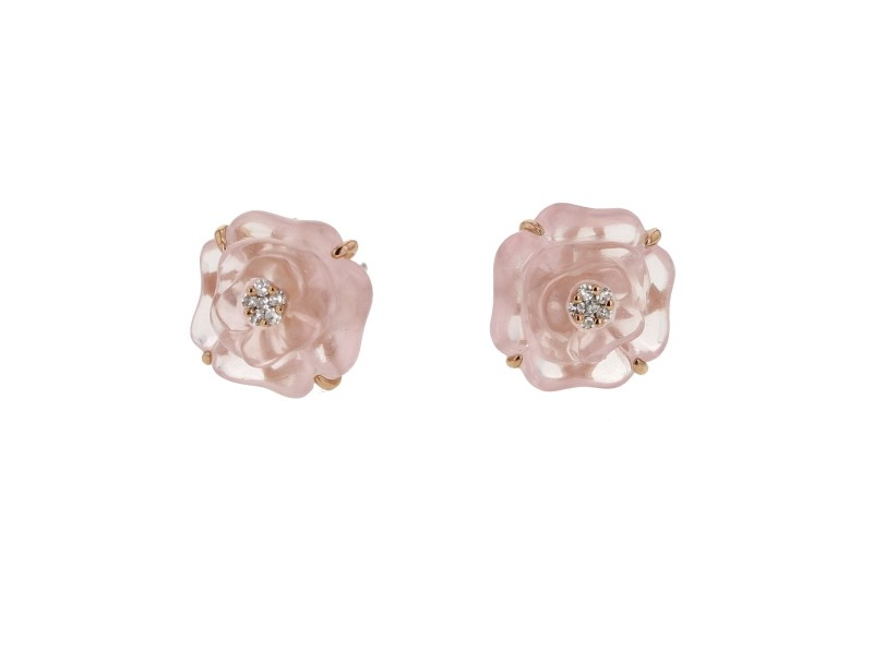 Camelia cut pink quartz earrings with diamonds in 9 K gold