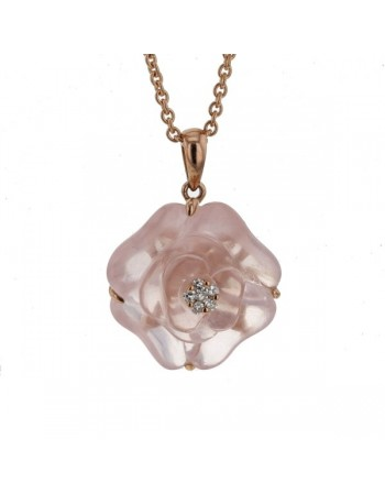 Camelia cut pink quartz and diamonds in 9 K gold