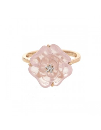 Camelia shaped chalcedony with diamonds in 9 K gold