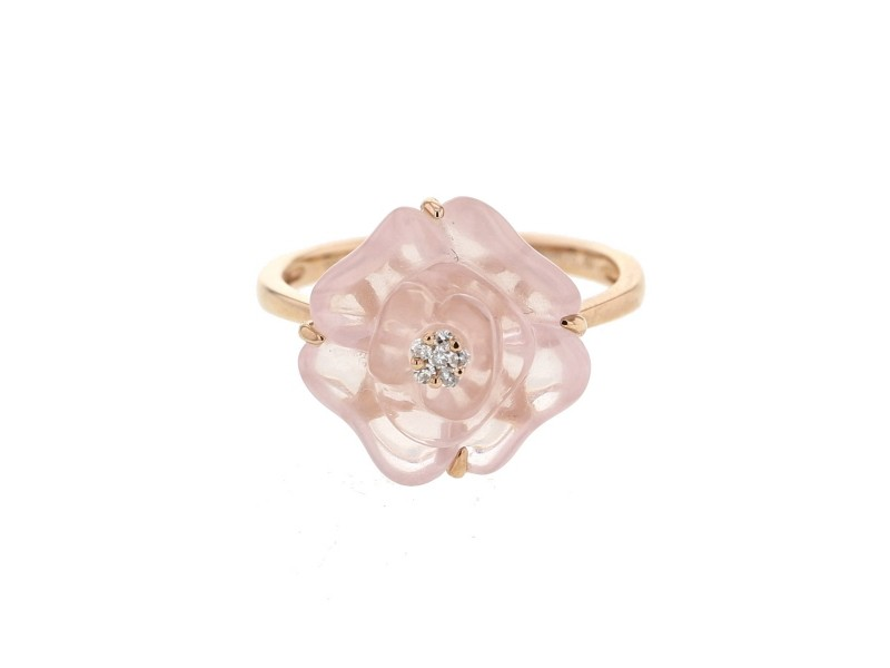 Bague camelia en calcédoine et pistille diamants en or rose