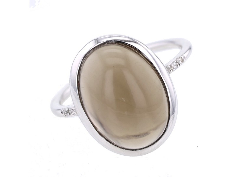 Bague quartz fumé et diamants en or blanc