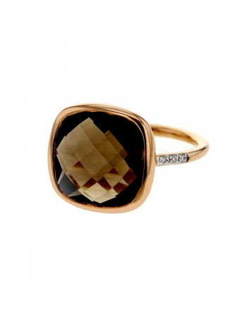 Diamond sides square smoky quartz ring in 9 K gold